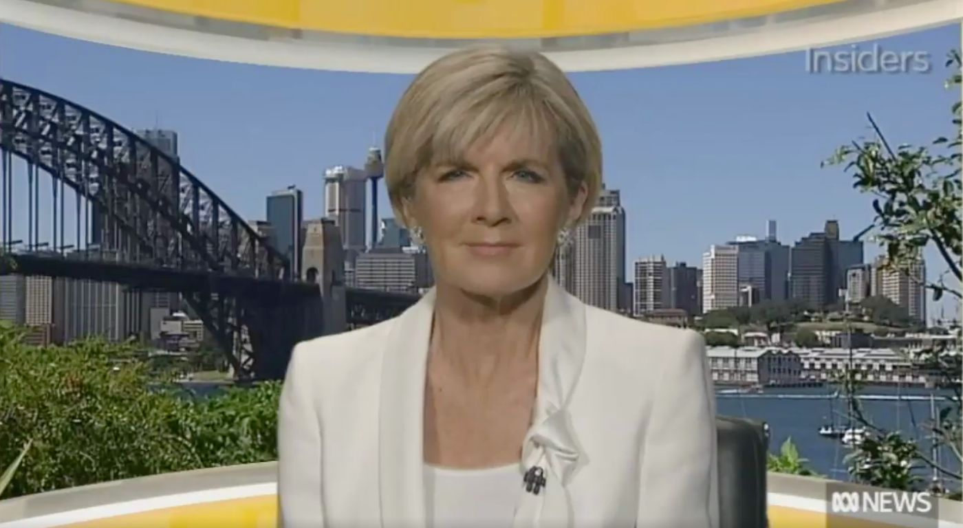 """Australian Foreign Minister Julie Bishop said she'd be """"taken aback"""" if Donald Trump commented on her physical shape."""