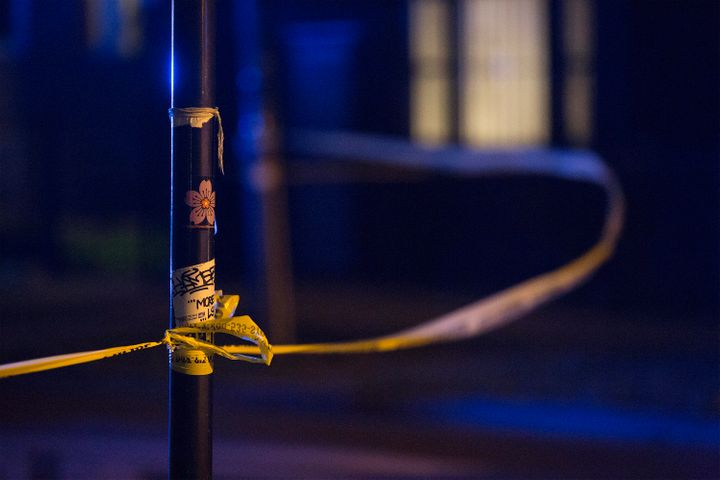 Police tape blows in a gust of wind on June 22.