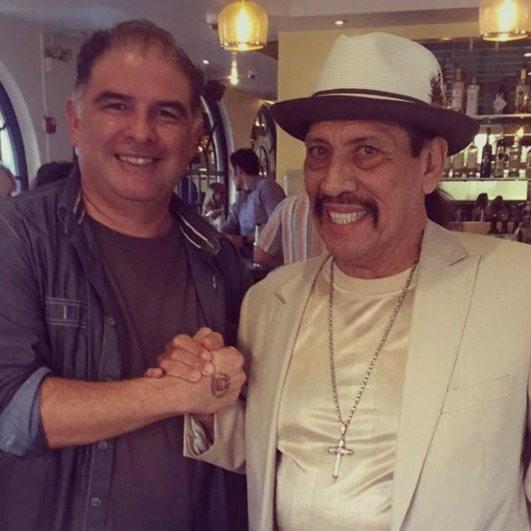 Hanging out with restaurateur Danny Trejo at the opening of Trejo's Cantina in Pasadena.