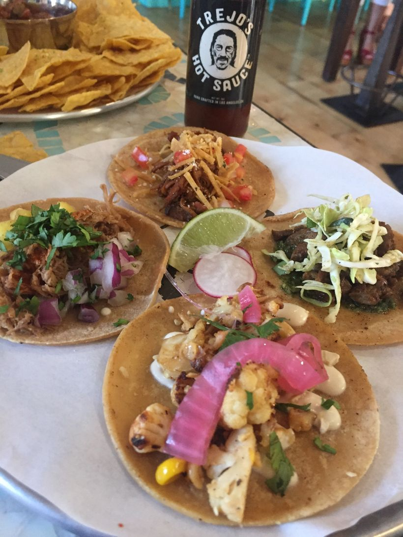 An assortment of tacos at the new Trejo's Cantina in Pasadena.