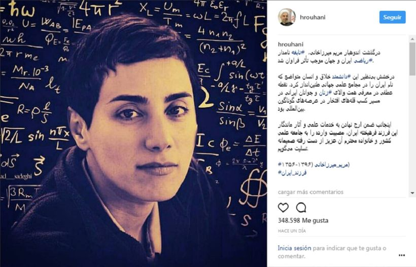In an unprecedented move, the president of Iran posted this image of Maryam Mirzakhani on Instagram, without retouching her i
