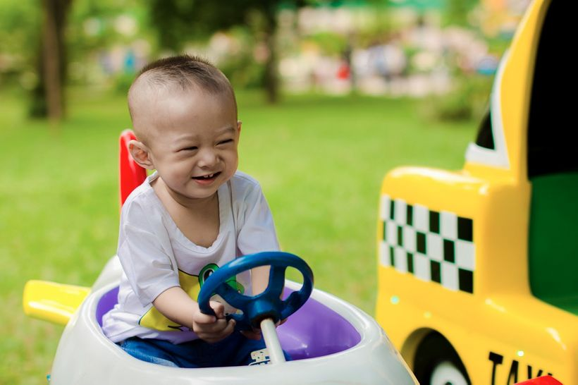 "Young child driving pedal car (<a rel=""nofollow"" href=""https://pixabay.com/en/soap-bubbles-child-play-park-kid-1679579/"" targ"