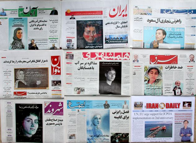 Some of theIranian press paid tribute to the Fields medal prize winner by using photographs of...