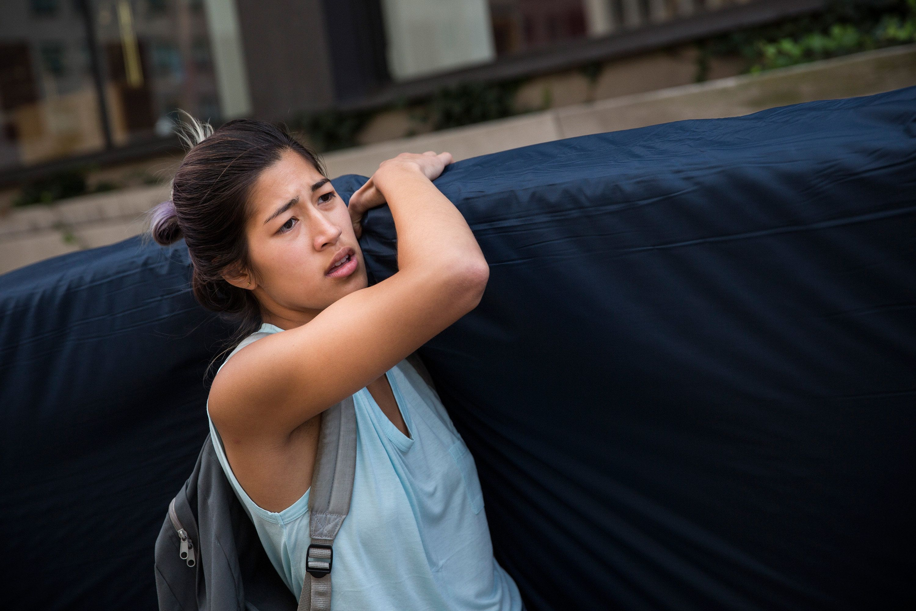 Sulkowicz carrying her mattress on September 5, during her senior year at Columbia.