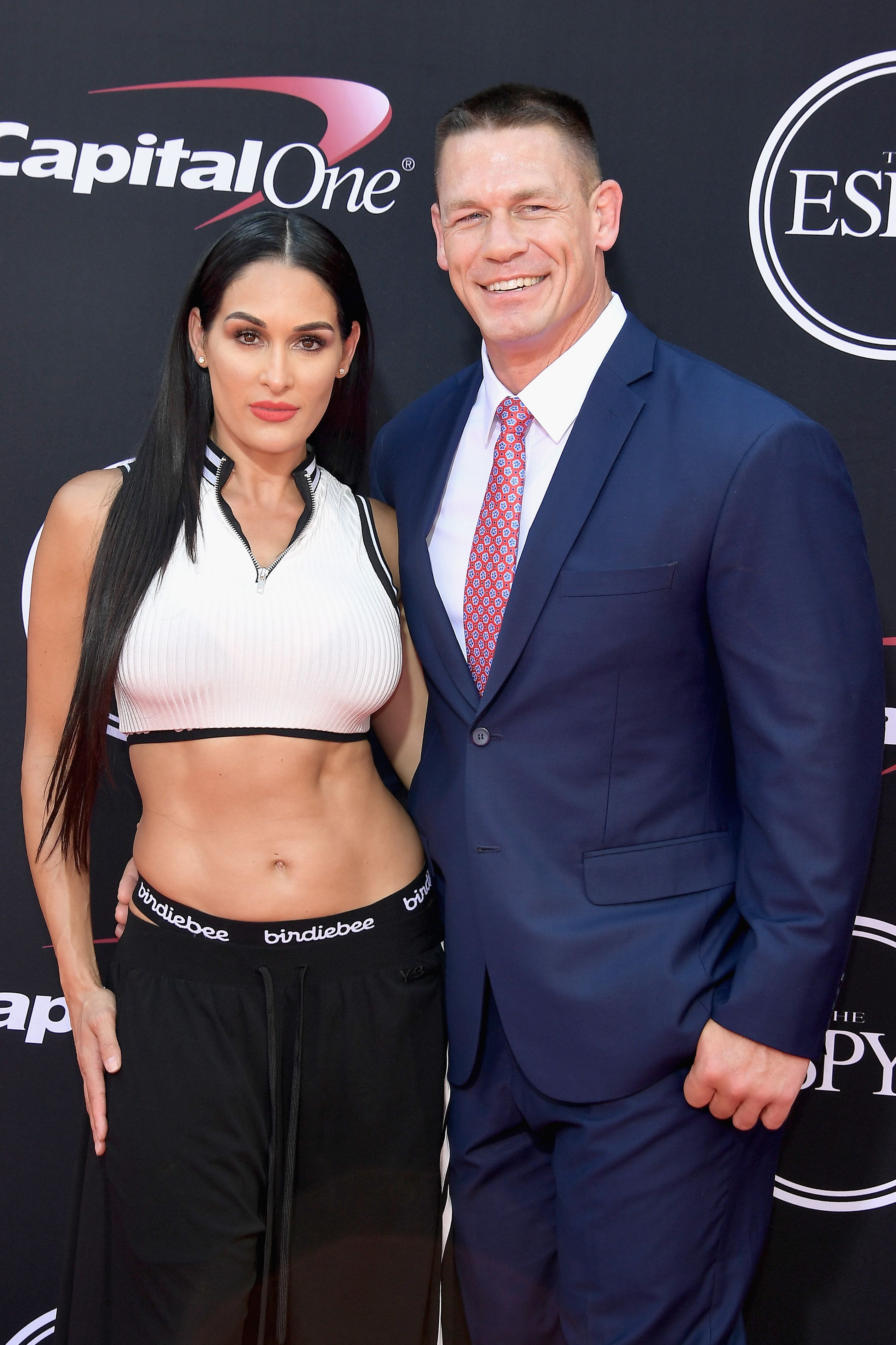 LOS ANGELES, CA - JULY 12:  Wrestler Nikki Bella and actor/wrestler John Cena attend The 2017 ESPYS at Microsoft Theater on July 12, 2017 in Los Angeles, California.  (Photo by Matt Winkelmeyer/Getty Images)