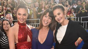 HOLLYWOOD, CA - MAY 25:  (L-R) Actor Gal Gadot, director Patty Jenkins and actor Lynda Carter attend the premiere of Warner Bros. Pictures' 'Wonder Woman' at the Pantages Theatre on May 25, 2017 in Hollywood, California.  (Photo by Alberto E. Rodriguez/Getty Images)