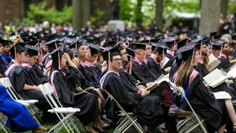 New Haven, USA - May 18, 2015: Yale University graduation ceremonies on Commencement Day on May 18, 2015. Yale University is a private Ivy League research university in New Haven, Connecticut. Founded in 1701
