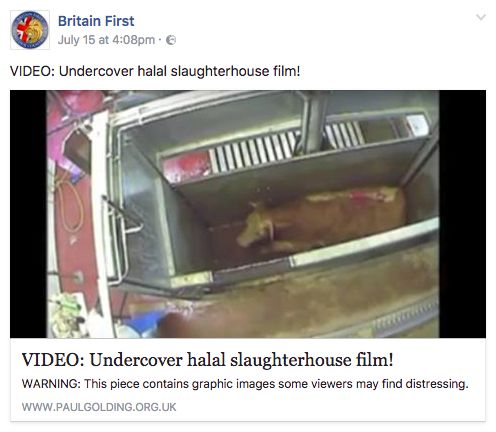 The incorrect video was shared on Britain First's official Facebook