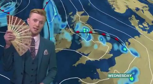 BBC weatherman Owain Wyn Evans has gone viral with his drag-themed