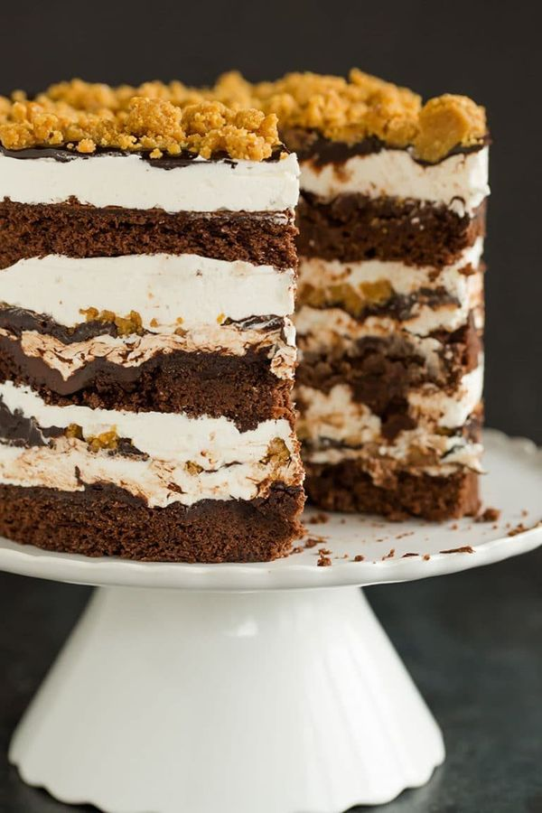 """<strong>Get the <a href=""""https://www.browneyedbaker.com/smores-layer-cake/"""" target=""""_blank"""">S'mores Layer Cake recipe</a>&nbs"""