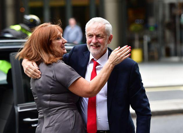 Leader's office director Karie Murphy hugs Jeremy Corbyn after 2017 election
