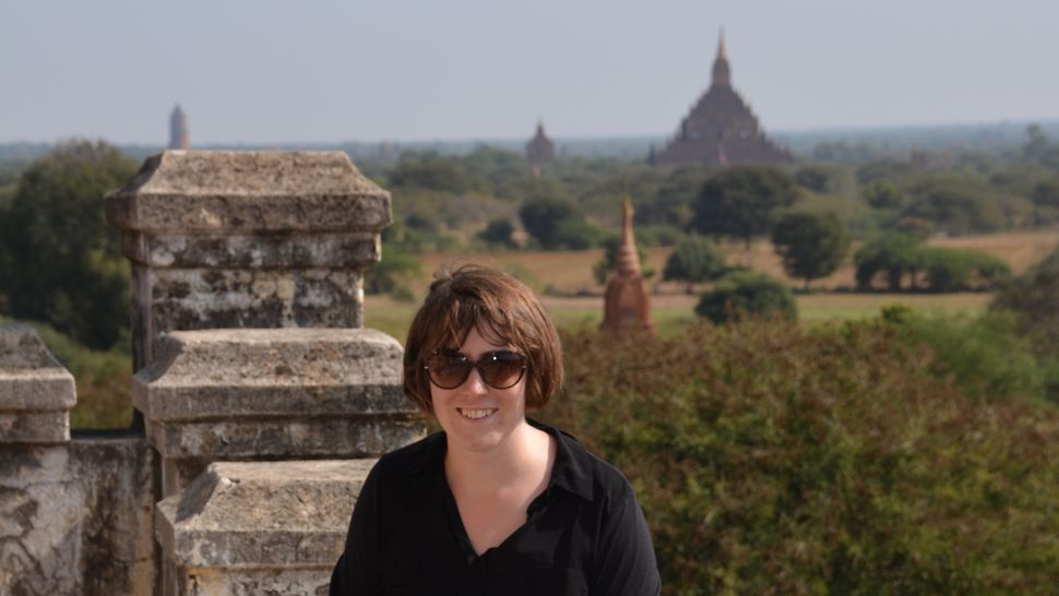 British artist Emma Harrison at Myanmar's most famous archeological site, Bagan, which inspires her work.