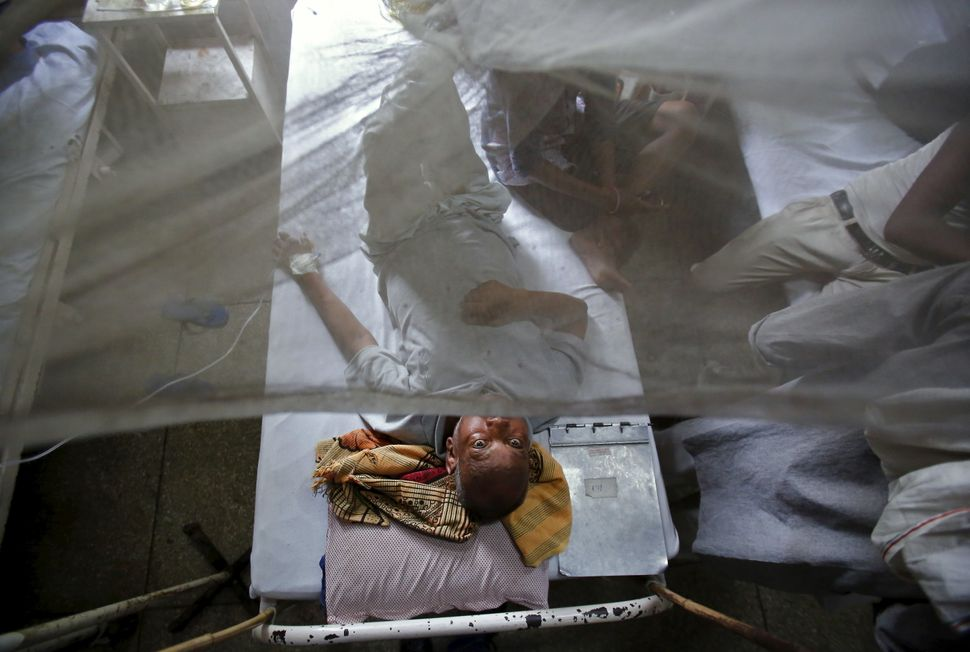 A patient awaits a routine check-up as he lies under a mosquito net inside a dengue ward of a government hospital in New Delh