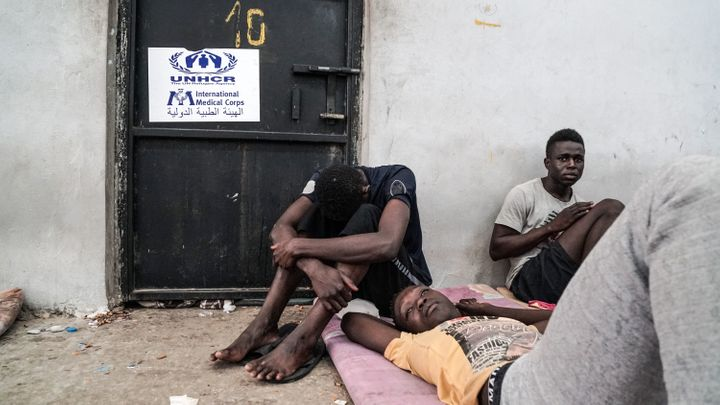 Illegal immigrants are held at a detention center in Zawiyah, Libya, on Monday.