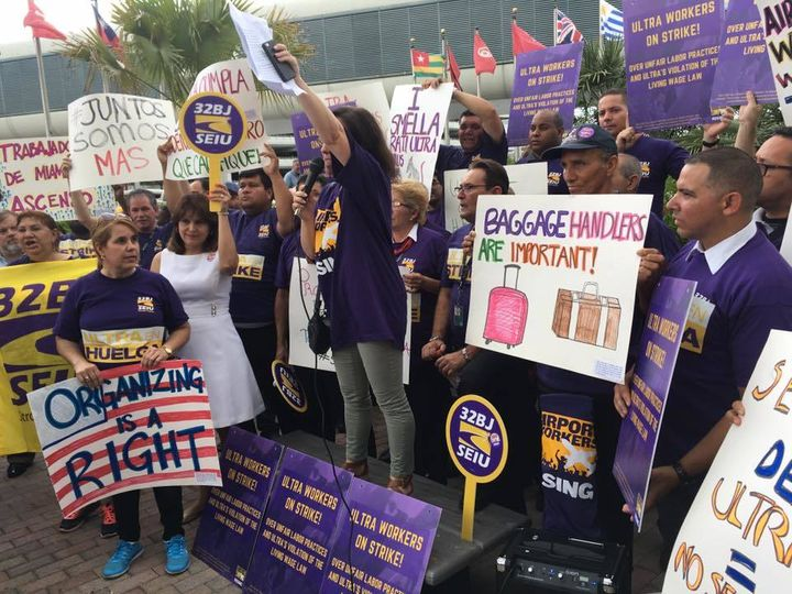 Miami airport workers go on a one-day strike in July.