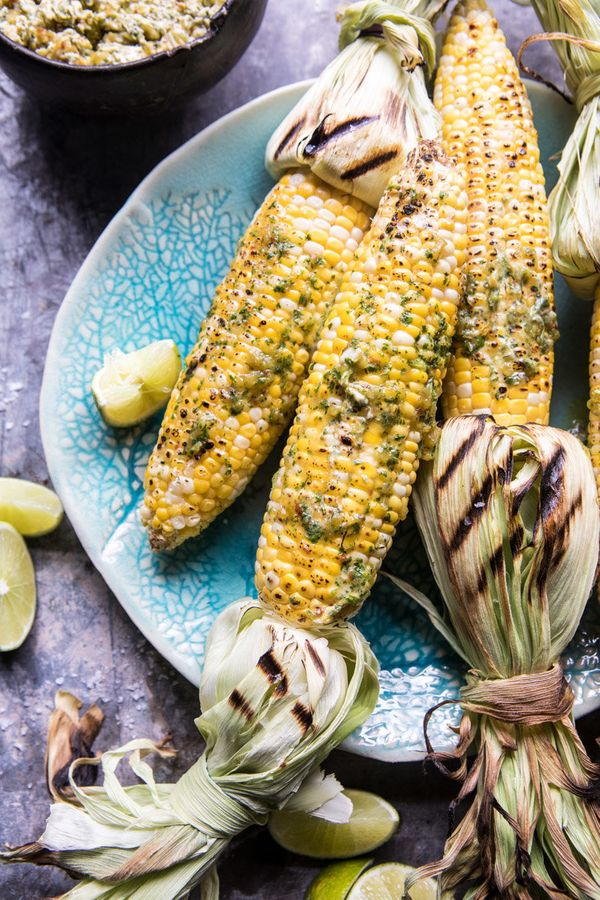 "<strong>Get the <a href=""https://www.halfbakedharvest.com/mexican-grilled-corn-with-green-chile-honey-butter/"" target=""_blank"