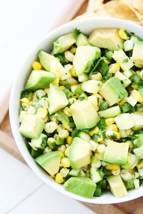 "<strong>Get the <a href=""https://www.twopeasandtheirpod.com/zucchini-corn-and-avocado-salsa/"" target=""_blank"">Zucchini, Corn"
