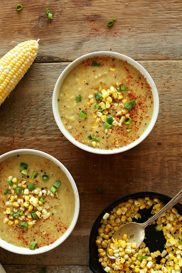"<strong>Get the <a href=""https://minimalistbaker.com/simple-summer-corn-soup/"" target=""_blank"">Simple Summer Corn Soup recipe"