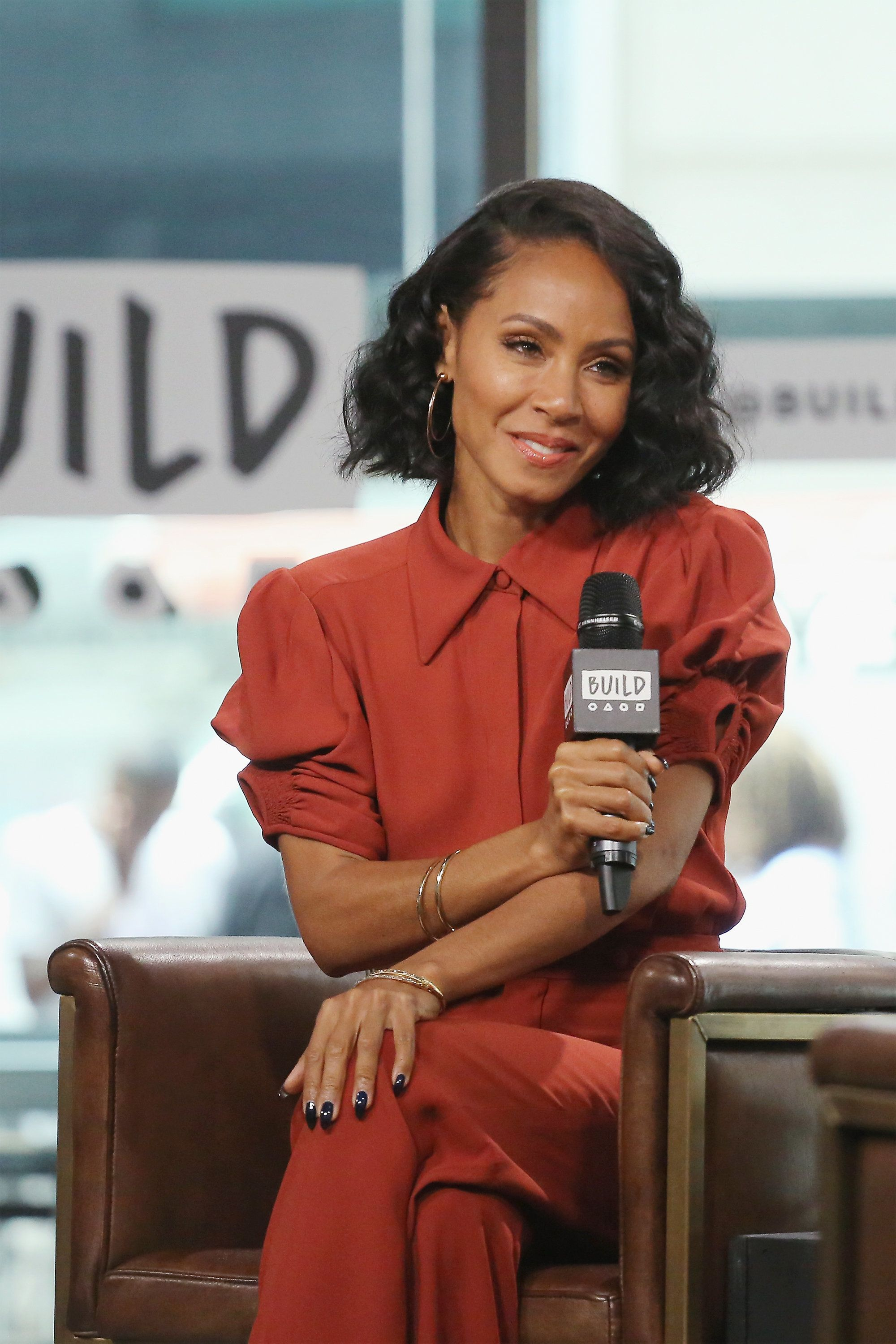 NEW YORK, NY - JULY 17:  Actress Jada Pinkett Smith visits Build to discuss the film 'Girls Trip' at Build Studio on July 17, 2017 in New York City.  (Photo by Mireya Acierto/FilmMagic)