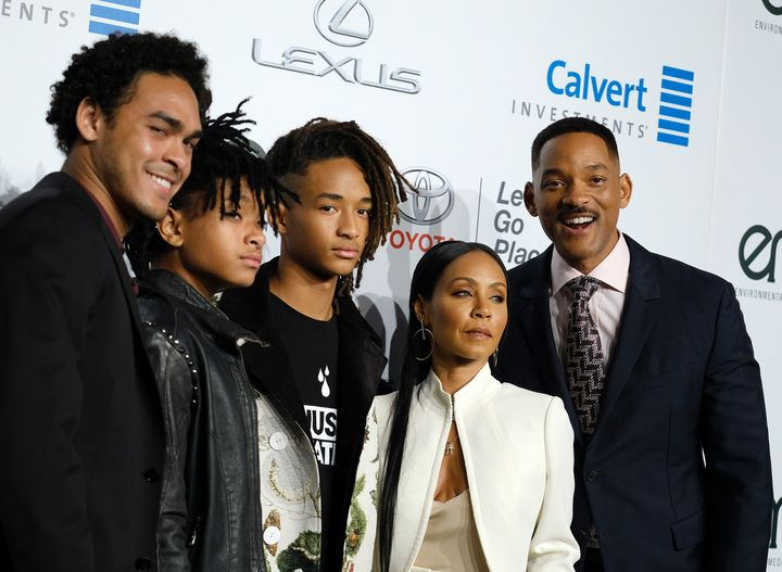 Trey Smith, Willow Smith, Jaden Smith, Jada Pinkett Smith and Will Smith attend the 26th annual EMA awards in October 2016.