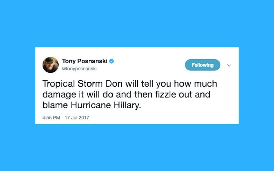 Twitter Can't Help But Make Trump Jokes About Tropical Storm
