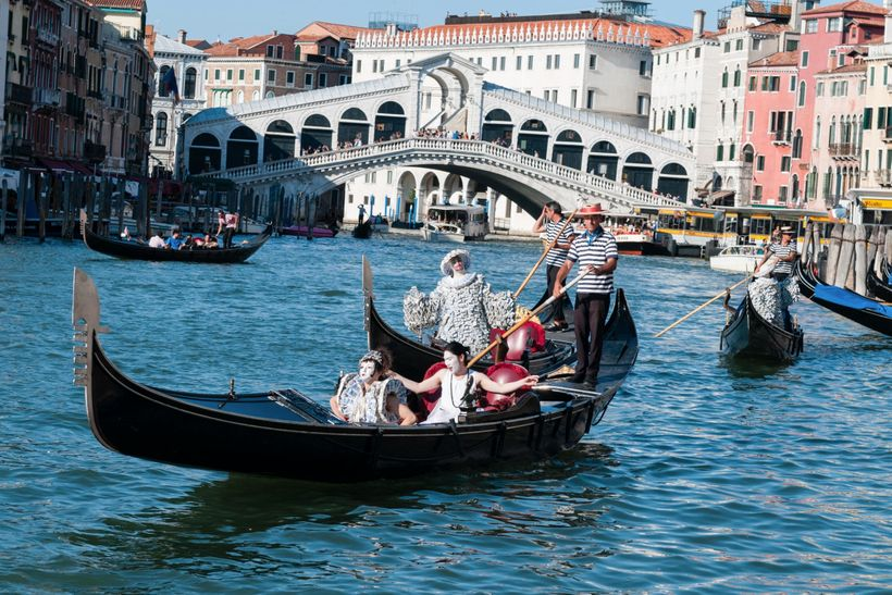 Sylva Dean and Me (and gondolier) near the Rialto Bridge on the Grand Canal in Venice