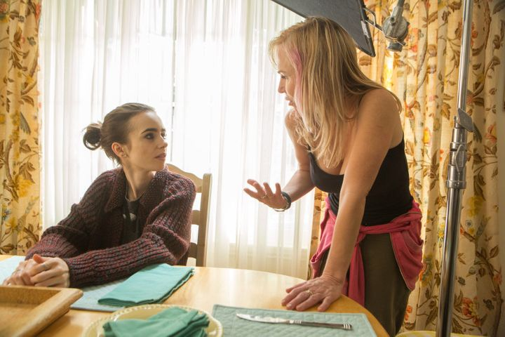 <p>Actress Lily Collins and Director Marti Noxon </p>