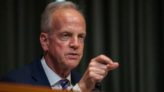 WASHINGTON, DC - JUNE 13: Sen. Jerry Moran (R-KS)  speaks during a State, Foreign Operations and Related Programs Subcommittee hearing on the State Department's FY2018 Budget  on Capitol Hill on June 13, 2017 in Washington, D.C. Some of the subcommittee members used the opportunity to grill Deputy Attorney General Rod Rosenstein on the firing of FBI Director James Comey and the investigatin into possible Russian meddling in the 2016 U.S. presidential election.  (Photo by Zach Gibson/Getty Images)