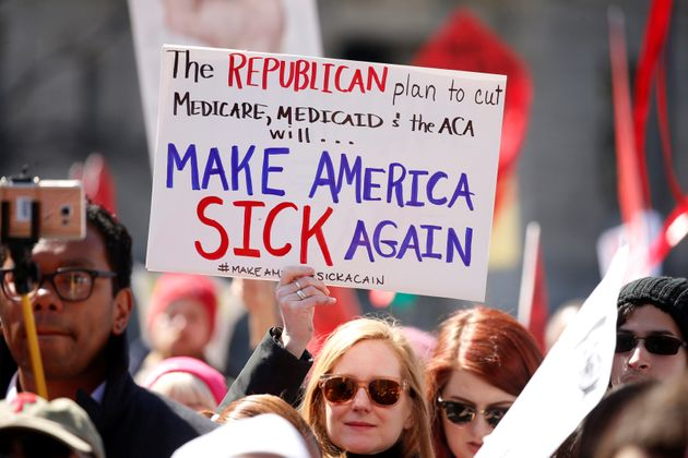 Activists protesting against the Republican plan to repeal Obamacare in