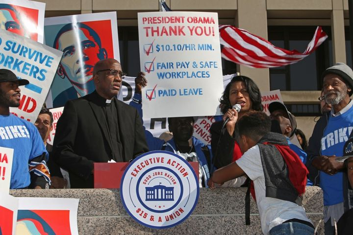 Rev. Dr. Leslie Copeland-Tune, director of the Ecumenical Poverty Initiative, speaks about fair wages at a Good Jobs Nation r