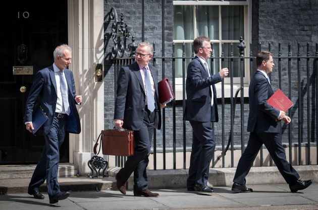 Cabinet ministers David Lidington, Michael Gove, Jeremy Wright and James Brokenshire leave their weekly