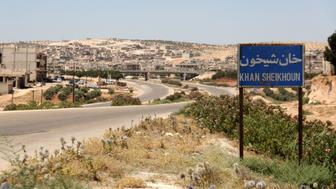 A picture shows on July 12, 2017 the entrance of Khan Sheikhun, a rebel-held town in the northwestern Syrian Idlib province, 100 days following a suspected toxic gas attack that was reported to have killed 88 people, including 31 children.  The Britain-based Syrian Observatory for Human Rights labeled the raid the second deadliest use of chemical weapons in Syria's six-year conflict. Western powers hold President Bashar al-Assad's forces responsible. / AFP PHOTO / Omar haj kadour        (Photo credit should read OMAR HAJ KADOUR/AFP/Getty Images)