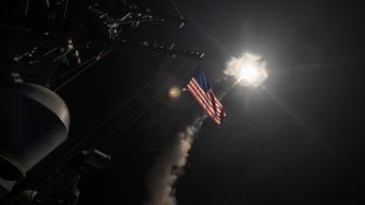 U.S. Navy guided-missile destroyer USS Porter (DDG 78) conducts strike operations while in the Mediterranean Sea which U.S. Defense Department said was a part of cruise missile strike against Syria  on April 7, 2017.  Ford Williams/Courtesy U.S. Navy/Handout via REUTERS   ATTENTION EDITORS - THIS IMAGE WAS PROVIDED BY A THIRD PARTY. EDITORIAL USE ONLY.  TPX IMAGES OF THE DAY