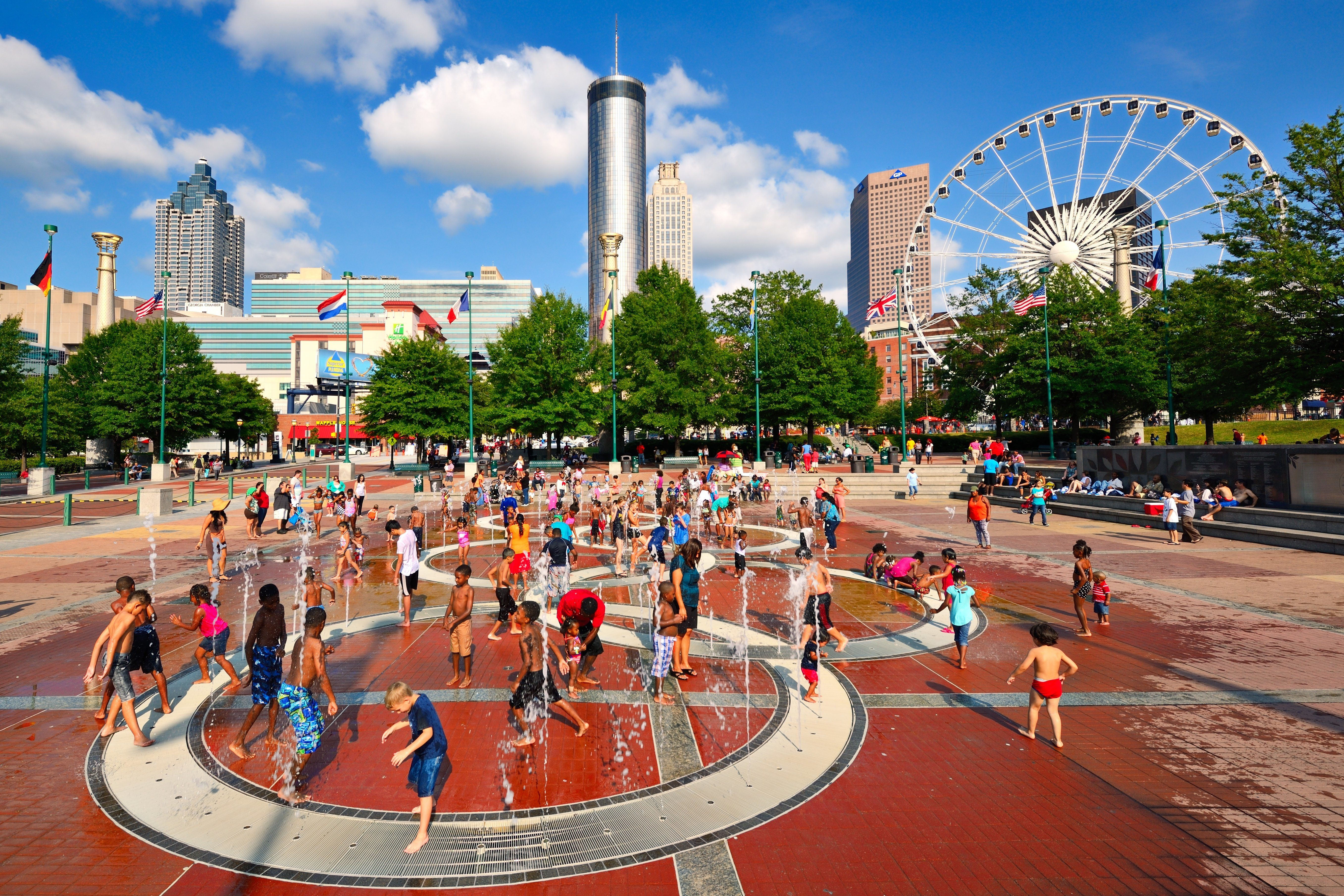 Atlanta, Georgia, USA - August 25, 2013: Children play at Centennial Olympic Park. The park commemorates the 1996 Atlanta Olympics and is a popular attraction.