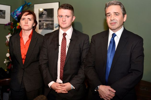 Anne-Marie Waters with anti-Islam activists Tommy Robinson and Paul Weston at the launch of Pegida