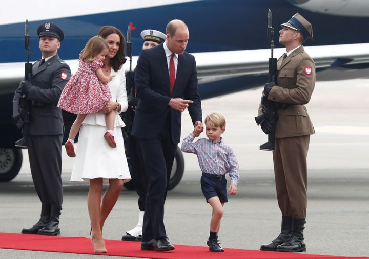 Prince William, the Duke of Cambridge, his wife Catherine, The Duchess of Cambridge, Prince George and Princess Charlotte arrive at a military airport in Warsaw, Poland on July 17.