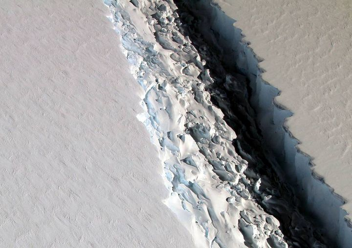 An oblique view of a massive rift in the Antarctic Peninsula's Larsen C ice shelf is shown in this November 10, 2016 photo.