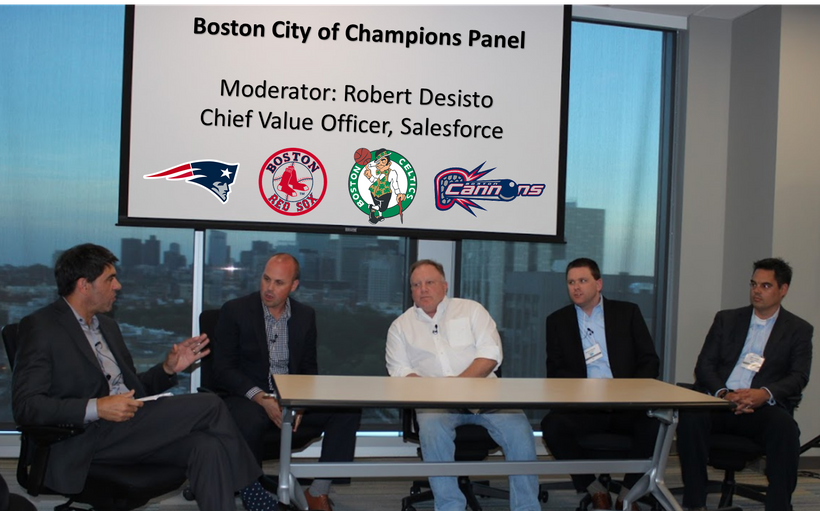 Robert Desisto moderating the Boston City of Champions sports panel with Cannons, Patriots, Celtics and Red Sox