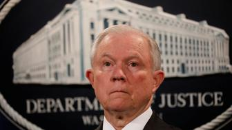 U.S. Attorney General Jeff Sessions looks during a news conference announcing the outcome of the national health care fraud takedown at the Justice Department in Washington, U.S., July 13, 2017. REUTERS/Aaron P. Bernstein