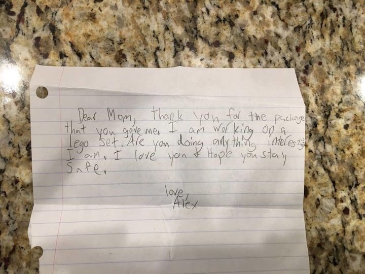 "When Alex received his toys, he sent home a letter to his mother telling her loved her and telling her to ""stay safe."""