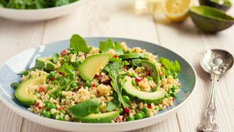 Home made freshness chilli bulgur wheat with avocado and garden peas salad