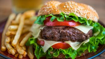 Closeup of Homemade Hamburger with Fresh Vegetables and French Fries on a Plate