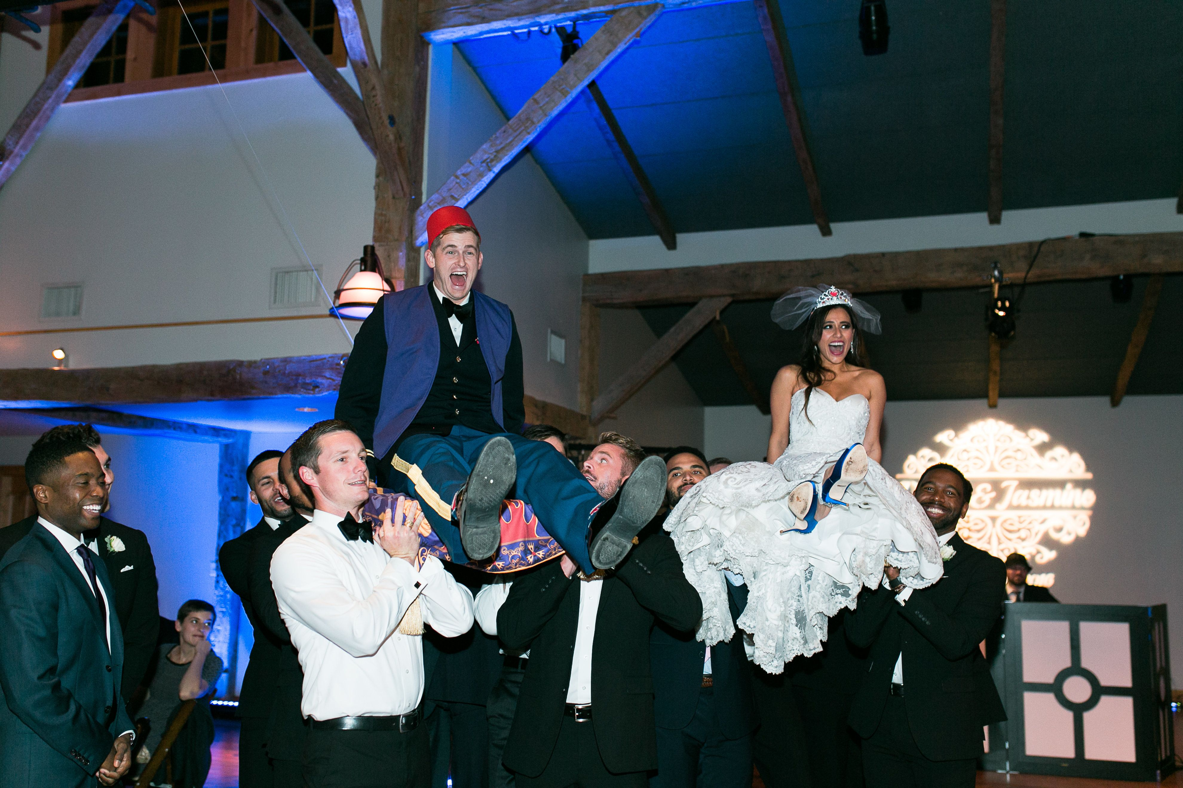 The bride and groom taking a magic carpet ride.