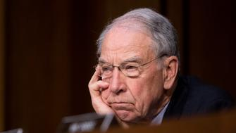 UNITED STATES - MAY 8: Sen. Chuck Grassley, R-Iowa, listens as former Director of National Intelligence James Clapper and former acting Attorney General Sally Yates testify during the Senate Judiciary, Subcommittee on Crime and Terrorism hearing on Russian Interference in the 2016 United States Election on Monday, May 8, 2017. (Photo By Bill Clark/CQ Roll Call)