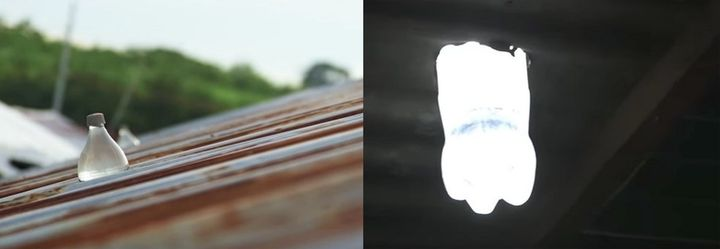 Liter of Light bleach bottles are shown inside a roof -- one viewed from the outside (left) and the other from the insid