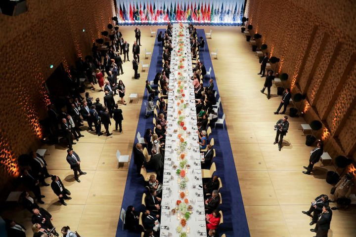 Overall view of the participants of the G20 summit and their spouses attending the banquet.