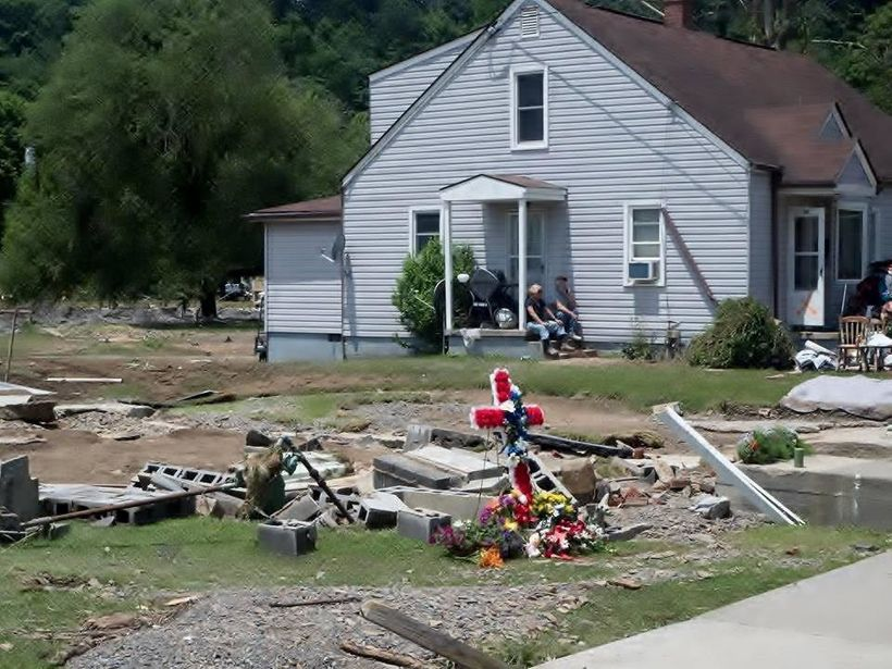 Debris after a flood in White Sulphur Springs, West Virginia.