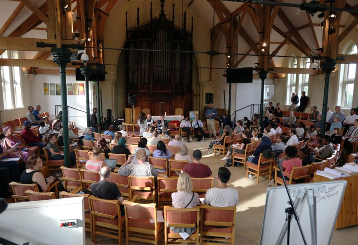 A public meeting between Grenfell residents and authorities takes place at the Notting Hill Methodist Church, London.