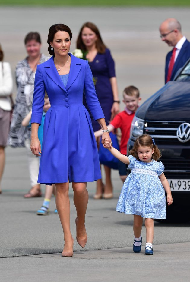 The Duchess of Cambridge with Princess Charlotte leave Warsaw, Poland, as they head to