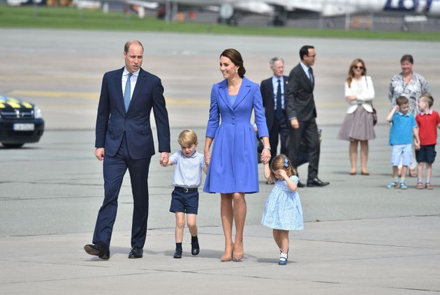 The Duke and Duchess of Cambridge with Prince George and Princess Charlotte leave Warsaw, Poland, as...
